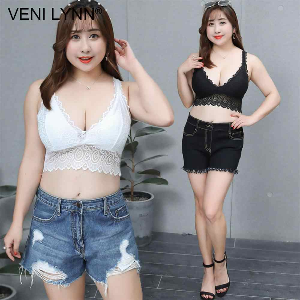 VENI LYNN Plus Size Women Lace Fat Vest Bra Big Breast Large Bust Chest Wrap Wireless Huge Boob Sexy White Soft Gilet Bralette