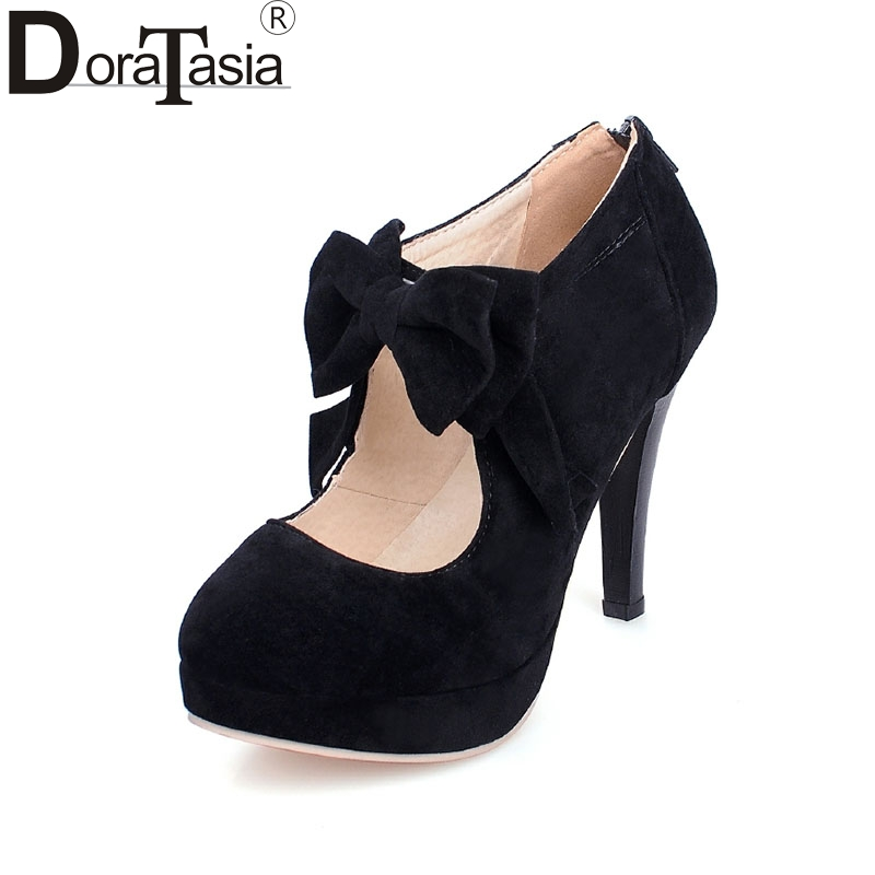 New Arrivals Big Size 30-47 Fashion Platform High Heels Women Pumps Spring Summer Bowtie Wedding Party Shoes Woman