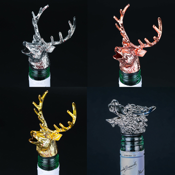 Wine Bottle Pourer Stopper Stainless Steel Deer Stag Head Dragon Head Unique Wine Aerators Bar Tools creative dispenser for wine jagermeister zinc alloy deer head mouth reindeer pourer european wine extractor silver pourers