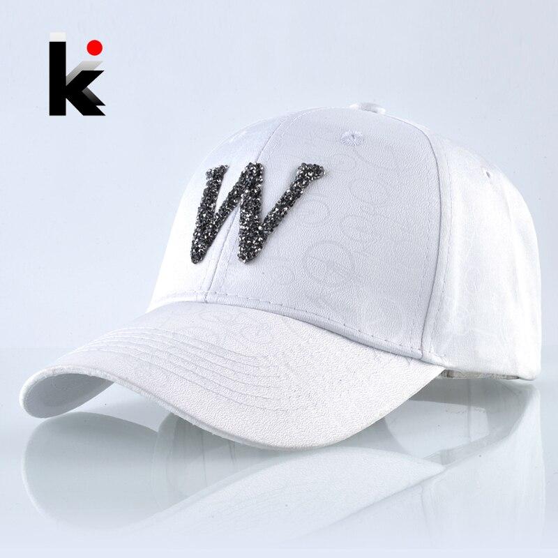 Baseball-Cap Riding-Cap Snapback Letter Dad-Hats Rhinestone Streetwear-Bone Unisex Women