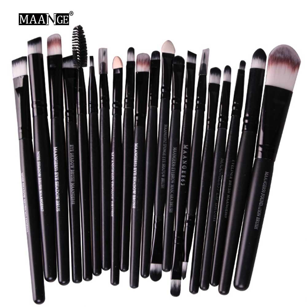 Pinceles de maquillaje profesionales MAANGE 20 piezas, mango de madera, sombra de ojos, delineador de ojos, brocha de mezcla de polvo, kit de herramientas de maquillaje de alta calidad|makeup brushes soft|foundation brushblush brush - AliExpress