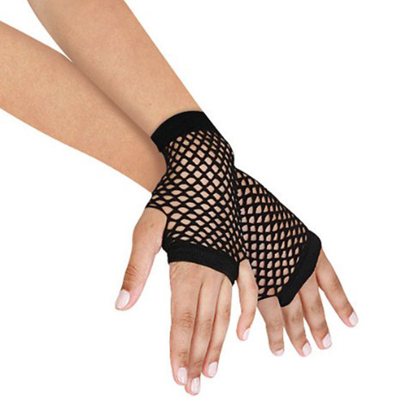 1 Pair Black Womens Short Fishnet Net Gloves Fingerless Mesh Gloves Punk Rock Costume Fancy  Night Club Party Accessories