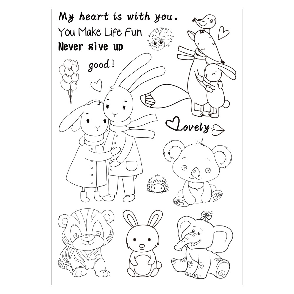 Cartoon Cute Animals Clear Silicone Rubber Stamp for DIY Scrapbooking/photo Album Decorative Craft Clear Stamp Chapter ylcs221 animals silicone clear stamps for scrapbook diy album paper cards decoration embossing folder craft rubber stamp 11 16cm