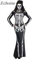 Echoine Long Skeleton Dress Adult Halloween Costume O Neck Cut Out Long Sleeve Bodycon Maxi Dress