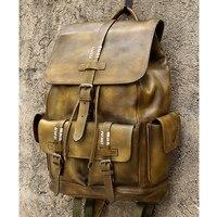 Top Cow Leather Backpacks for Travel School Men's Backpack 15' Laptop Large Capacity drawstring Bag rugzak Bagpack mochila