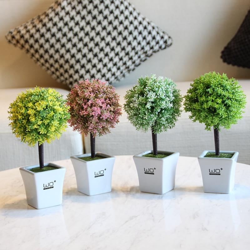 Grass ball Small bonsai creative Green potted Artificial plant flowers gardening decoration pot culture decorate Home Decor vasos sanitários coloridos