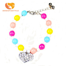 Pet Love Diamond Necklace Candy Beads Dog Cat Piggy Pearl Pendant Collar Pets Accessories Collars & Laads Jewelry DOGGYZSTYLE