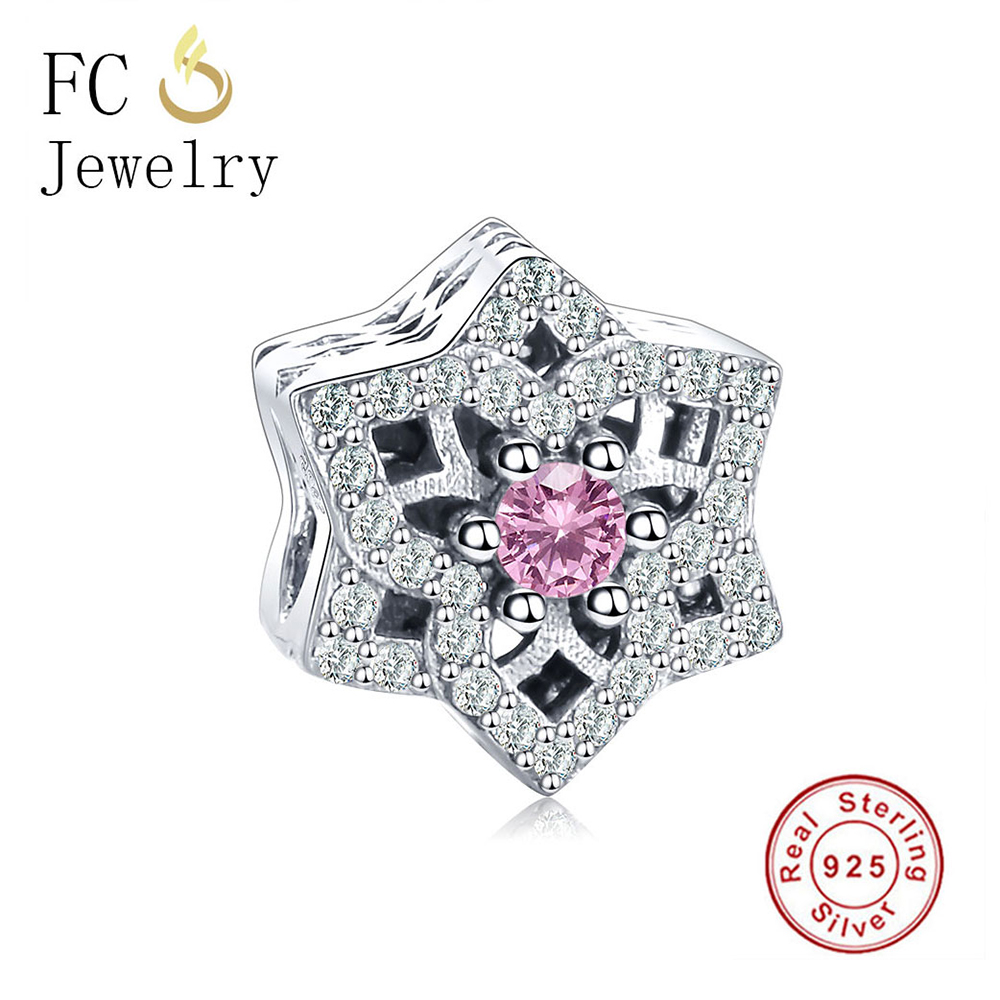 FC Jewelry Authentic 100% 925 Sterling Silver Crystal Bead Charms Flower DIY Beads Clear CZ Fit Original Pandora Charm Bracelet