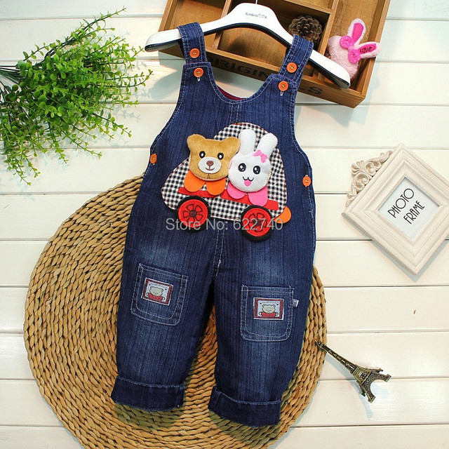2015 Retro bebé niños niñas niños niños Washed Denim Jeans oso conejo pantalones pantalones Casual trajes mamelucos S1169