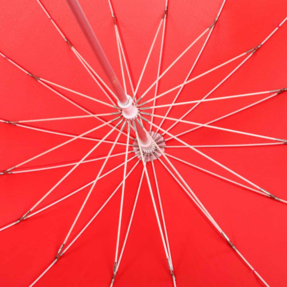 Showersmile Bentuk Hati Merah Cerah dan Hujan Payung Wanita Pernikahan Parasol Pesta Novely Tari Payung Pegangan Panjang Paraguas