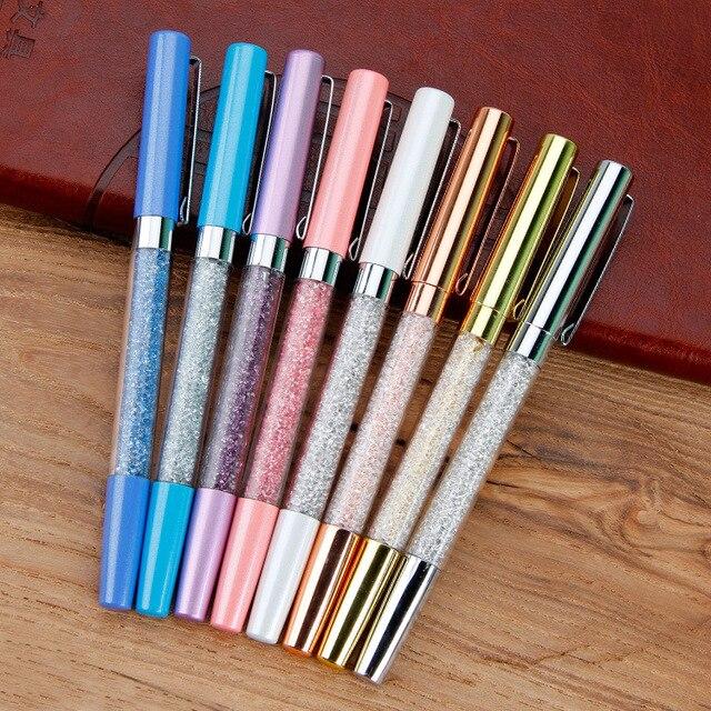 אופנה מתכת חתימת עט גביש יהלום שבור עט תלמיד בית ספר עט מתנה עט