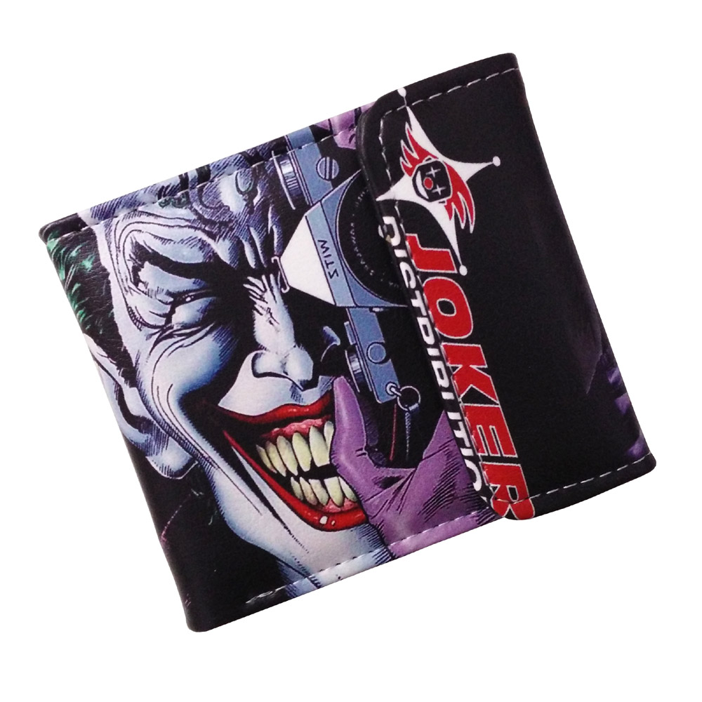 Movie The Dark Knight The Joker High Quality PU Short Wallet/Purse with Button gravity falls high quality pu short wallet folding purse with button