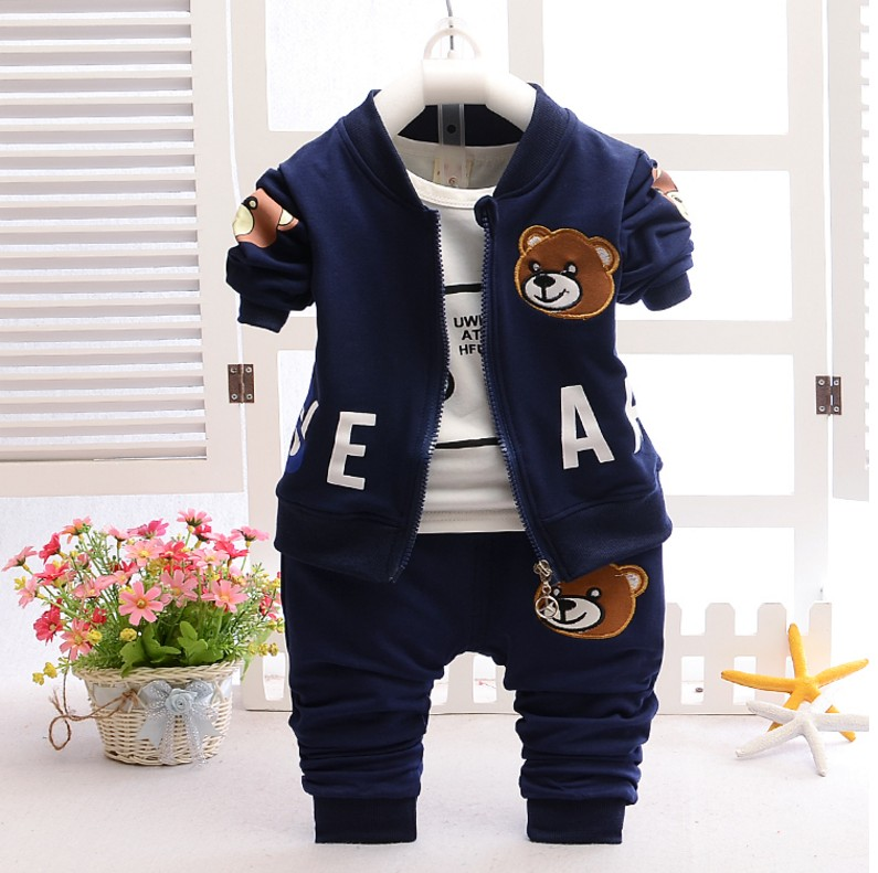 New 2018 Spring Autumn Children Boys Girls Clothing Sets Cartoon Bear Coat+T shirt+Pant baby kids 3pcs Suit Boy Sports Set Gifts