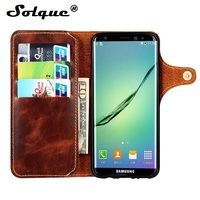 Solque Real Genuine Leather Flip Case For Samsung Galaxy S8 Plus S 8 Luxury Magnet Card