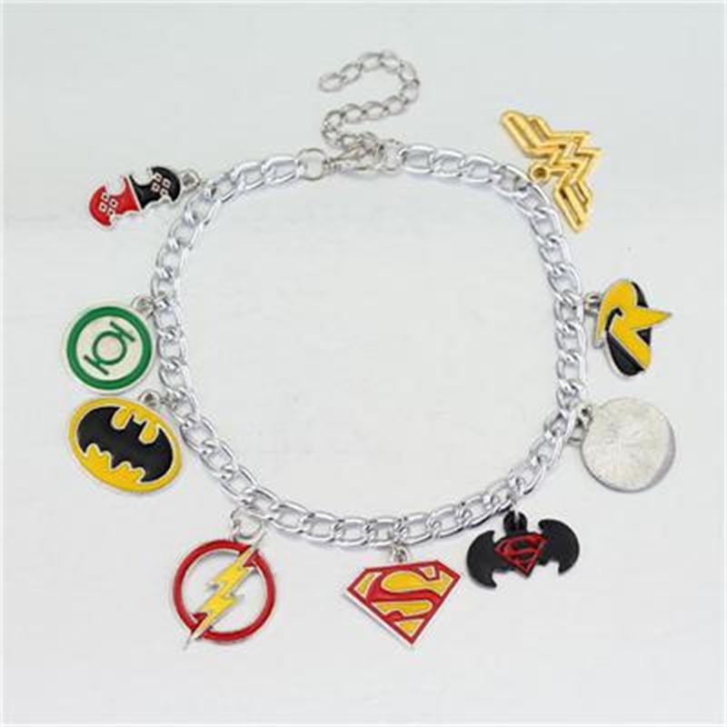 Фильм ювелирные изделия супергерой Супермен s Wonder Woman вспышка Бэтмен логотип кулон, браслет