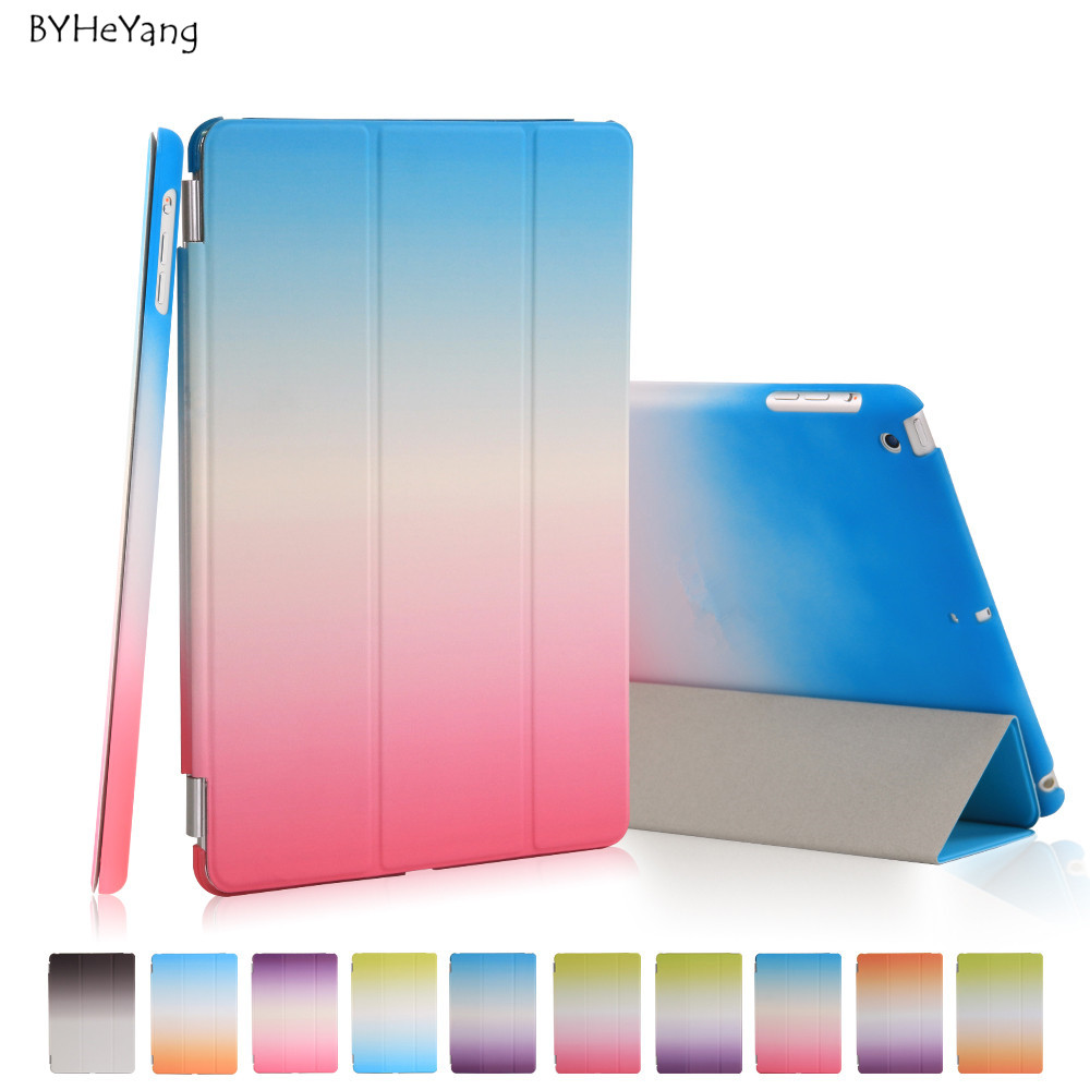 BYHeYang Rainbow Stand Case For ipad mini 1 2 Retina 3 Silk Slim Clear Transparent Smart