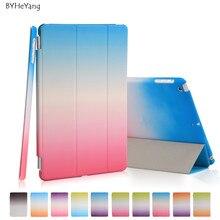 Byheyang rainbow stand case para ipad mini 1/2 retina/3 de seda delgado claro transparente elegante de la contraportada para apple ipad mini 2