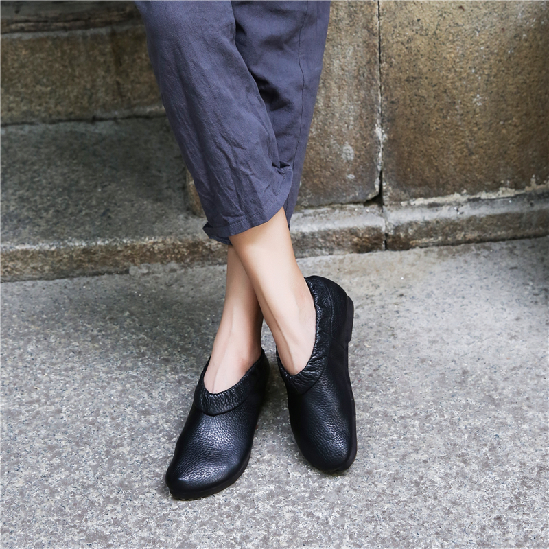 Women Genuine Leather Flats Black Lazy Shoes Casual Leather Loafers For Women Soft Autumn Shoes Women Handmade Retro Flats 2018 keaiqianjin woman genuine leather shoes spring autumn black brown loafers shoes lazy plus size flats genuine leather loafers