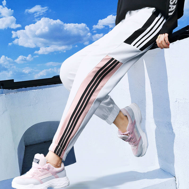 Summer Harem Pants Hip Hop Fashion Loose Beam Legs Ankle-Length Pants Casual 2019 Women's Gym Harajuku Pants Funny Trousers Girl
