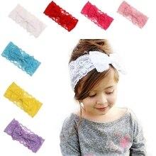 цена на Yundfly Fashion Girl Headwear Soft Lace Kids Hair Band Big Bow Elastic Head Wrap Bow Tie Kids Head Hair Accessories