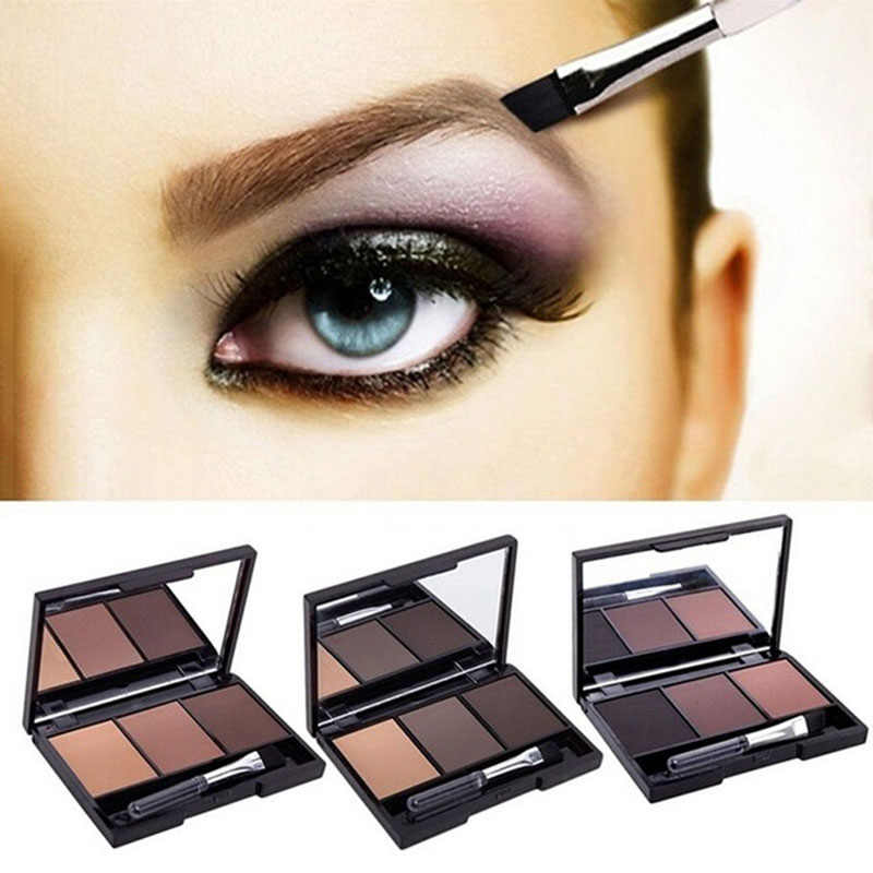 3 Warna Eye Shadow Alis Makeup Palet Tahan Lama Tahan Air Membuat Alis Warna Bubuk Berpigmen Matte Eyeshadow Pallet
