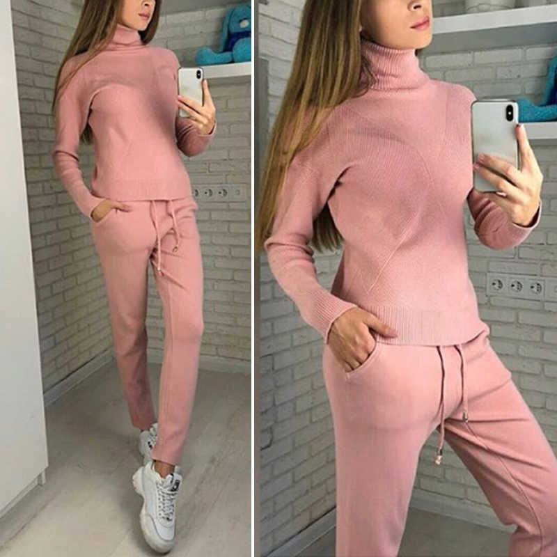 Women Sweater Suit And Sets Casual Autumn and Winter 2 Pieces Suit Casual Women Knitted Pants + Jersey Tops Suit Clothes 6Q2449