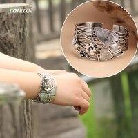 100% Pure 925 серебряный браслет женские широкие 42 мм Таиланд ручной работы Бабочка Цветы открытие браслет Открытые женские ювелирные изделия