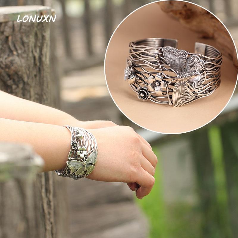 100% puro 925 Pulseira de prata Esterlina mulheres ampla 42mm Tailândia artesanal borboleta flores Pulseira abertura Oco mulheres jóias