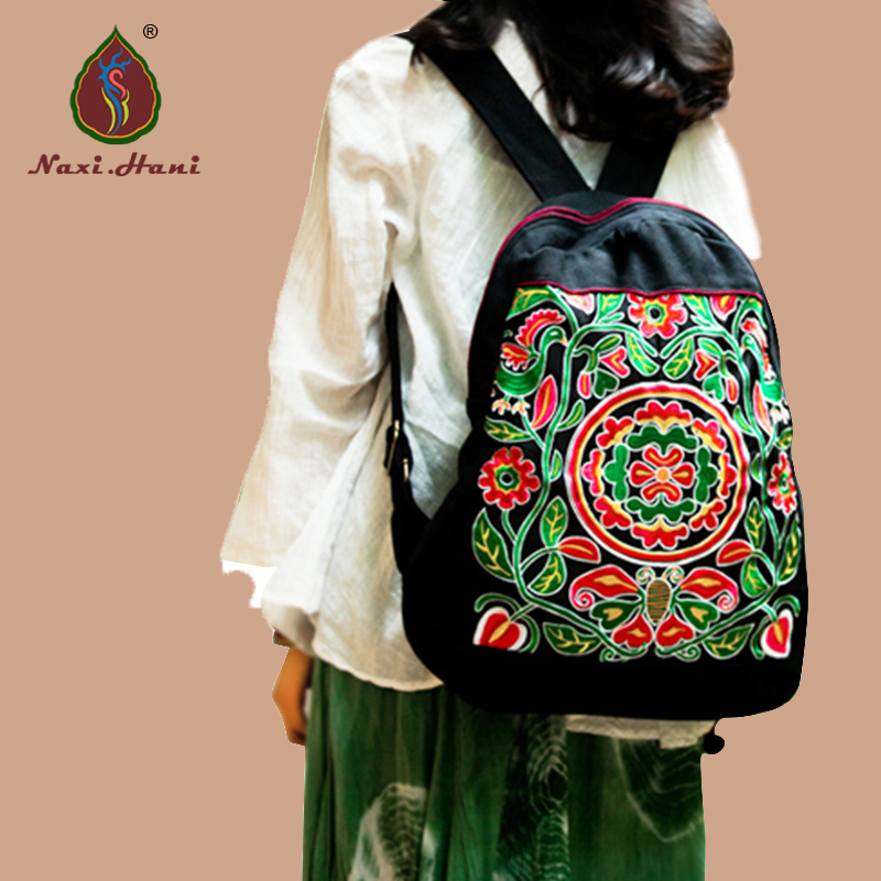 2Colors Ethnic embroidery canvas women backpack Original Fashion Vintage canvas casual travel backpack xiyuan brand newest classic vintage unisex canvas backpack ethnic embroidery large casual travel backpacks