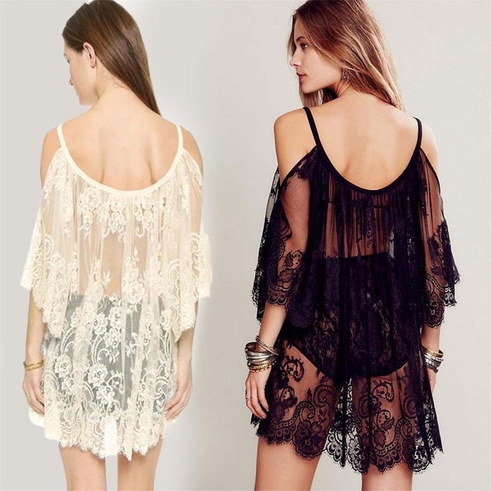 2018 Embroidered Sheer Swimsuit Cover Up See-through Lace Cover Up Women De Plage Beach Cardigan Bathing Suit Cover Up