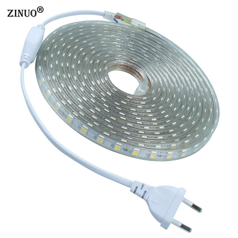 IP65 Waterproof AC220V 5M 10M LED Strip 5050 LED Ribbon Brighter than 5630 2835 3528 LED Tape White Warm White Red Green Blue 5m 600 led 2835 smd led strip 12v flexible led tape 120led m ribbon white warm white blue green red purple pink ip20 ip65