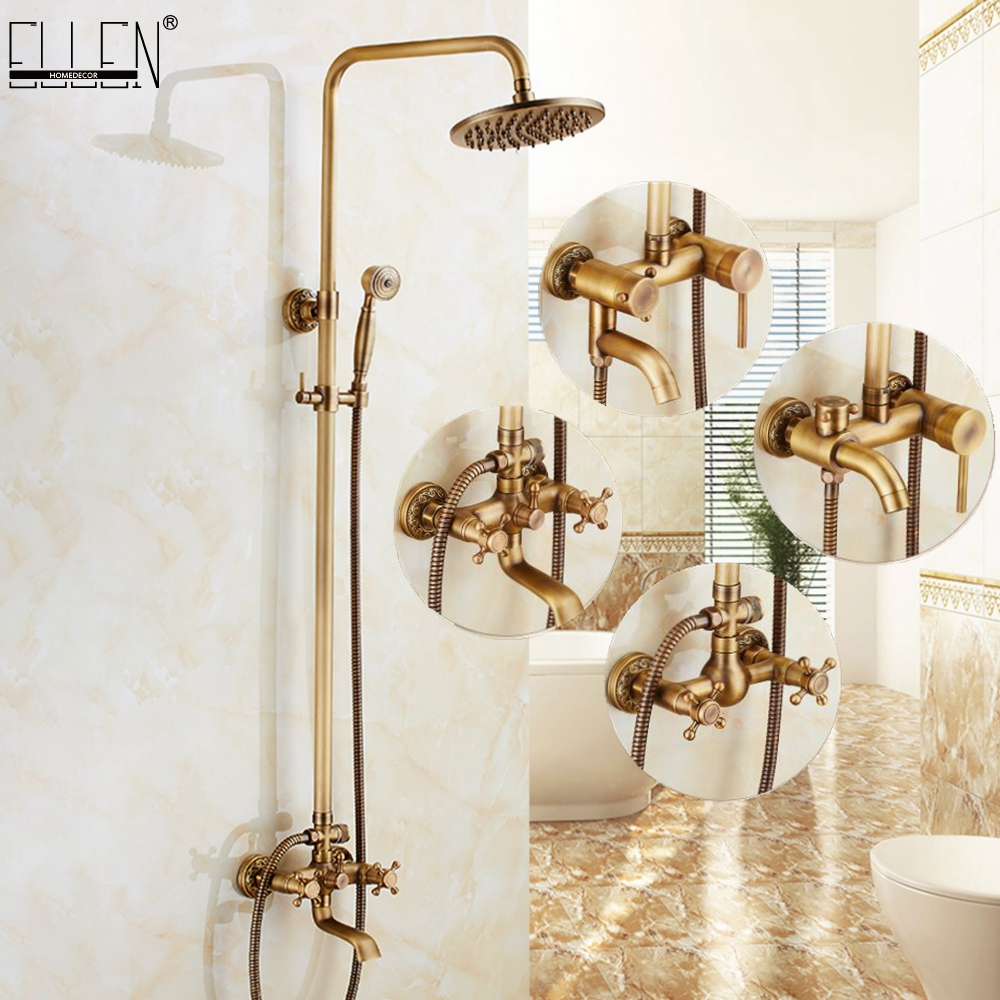 Classic Luxury Rainfall Shower Set Antique Bronze Bath Faucets with Shower Head Hand Shower Copper Wall