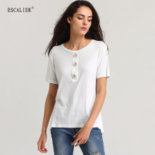 ESCALIER Summer Women Casual Shirt Fashion Tops Tees Cotton Spandex Button T-shirts O-Neck Loose Elastic Short Sleeve T-shirt