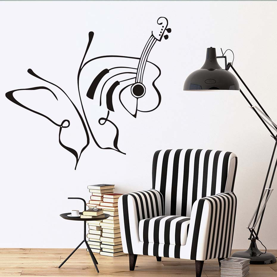 Line Drawing Art Creative Butterflies And Guita Wall Stickers Home Decor DIY Vinyl Adhesive Decals Living Room Removable In From