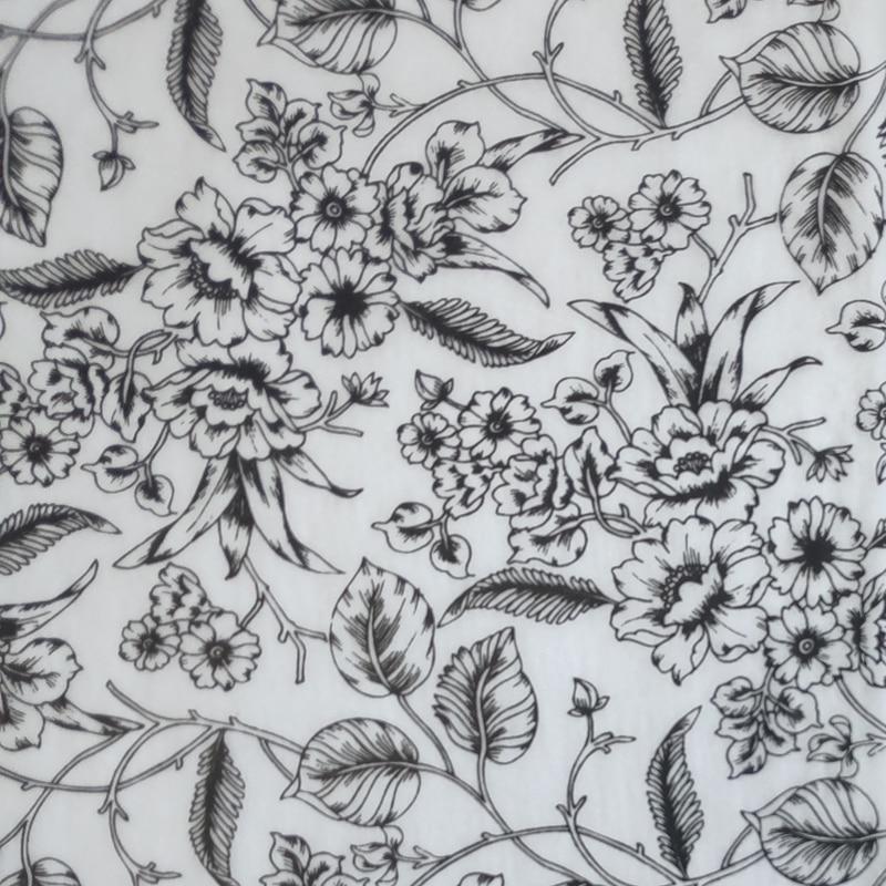 100 ชิ้น Elegant Black & White รูปแบบดอกไม้เครื่องแต่งกายห่อกระดาษทิชชูกระดาษจัดส่งฟรี-ใน กระดาษคราฟต์ จาก บ้านและสวน บน   1