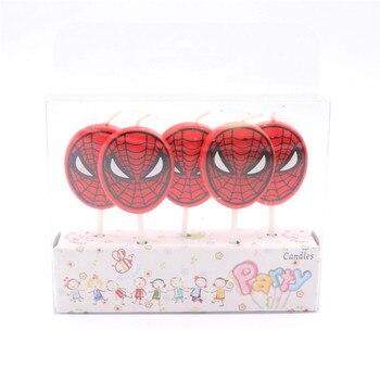 5 unids/lote Spiderman vela de unicornio Decoración de Pastel de fiesta para baby shower boda cumpleaños Navidad suministros