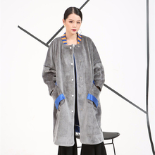 [soonyour] 2016 Autumn and winter Fashion New women's wear both positive and negative thick velvet Long Loose coat 500261