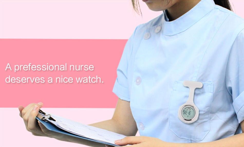 2019 ALK Digital Silicone nurse watch fob pocket watch doctor nurse timepiece brooch lapel Medical Nurse Watch Quartz with Clip 24