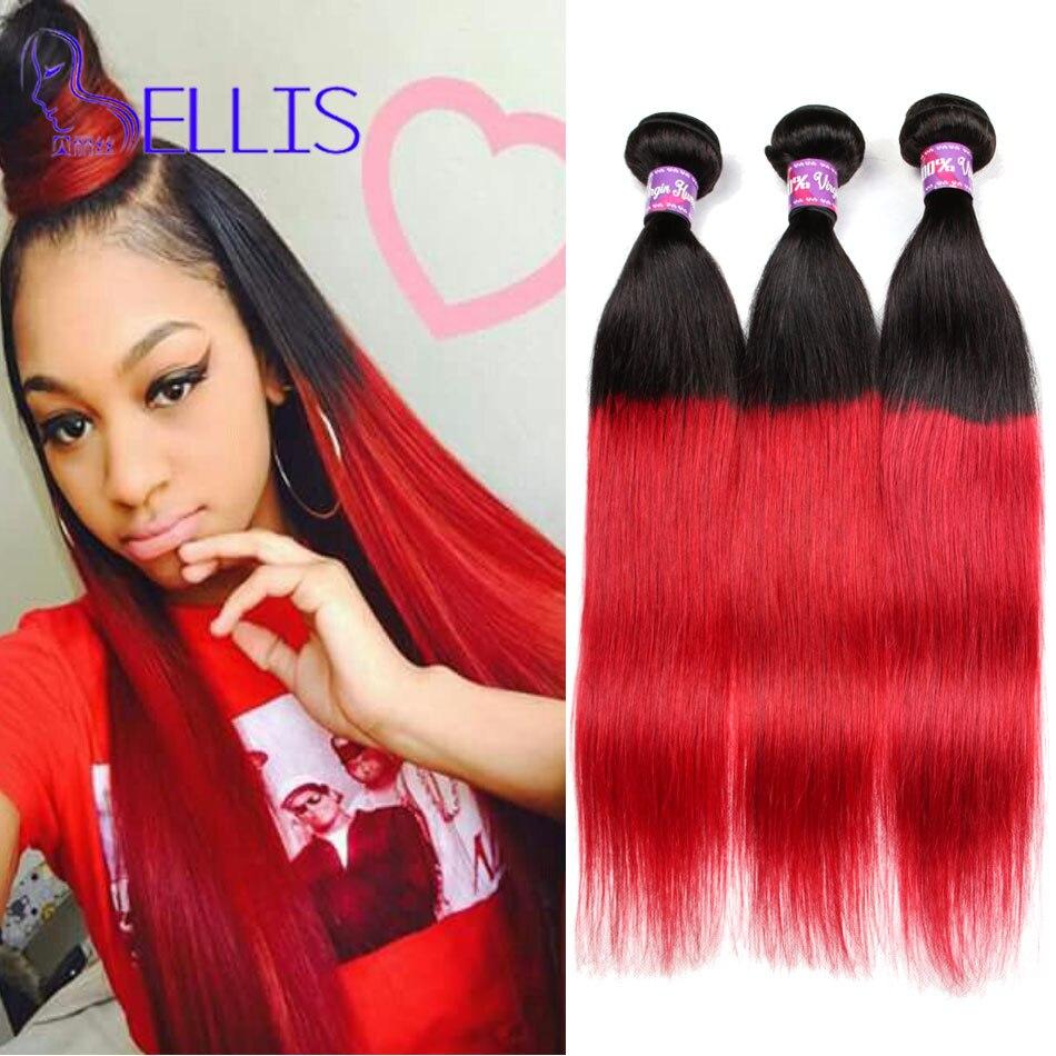 7a Burgundy Brazilian Hair 1b99j Straight Weft Ombre Brazilian Hair