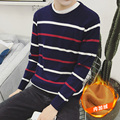 2016 New Arrival Spring Autumn Winter High Fashion Men Navy/White/Gray Casual Long Sleeve O-neck Pullover Striped