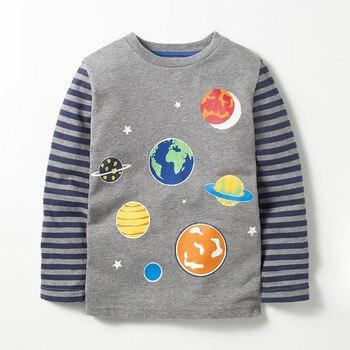 Little maven 2-8Years Autumn Luminous Universe Planet Boys Long Sleeve T Shirts Toddler Kids Fall Clothing Children's Clothes 2