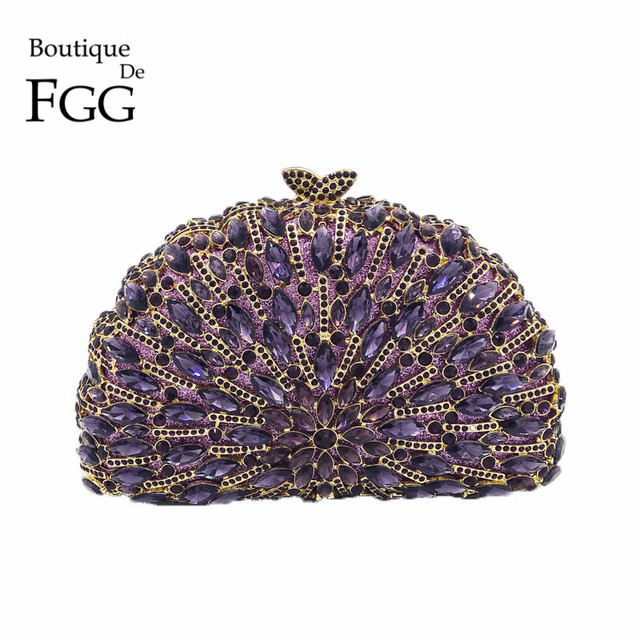 Amazing Bling Hollow Out Purple Bridal Crystal Evening Bag Women Gold Metal Clutches Wedding Banquet Party Handbag Clutch Bag