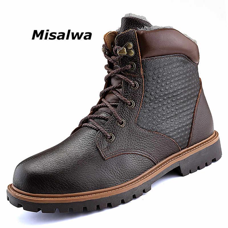 Misalwa/мужские рабочие ботинки с круглым носком Водонепроницаемая кожаная обувь