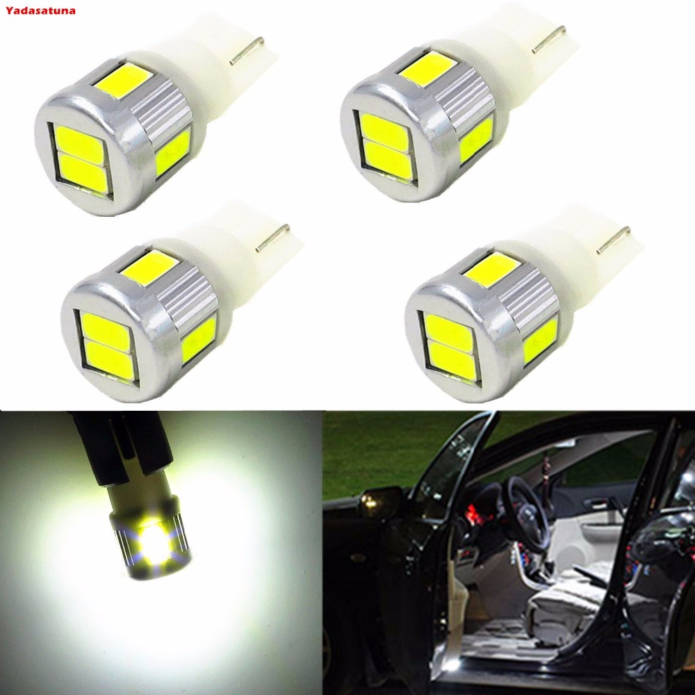 4x 5630 SMD T10 Wedge 194 168 2825 W5W Amber/White LED Bulbs for License Plate Interio Map Dome Side Marker Courtesy Cargo Light