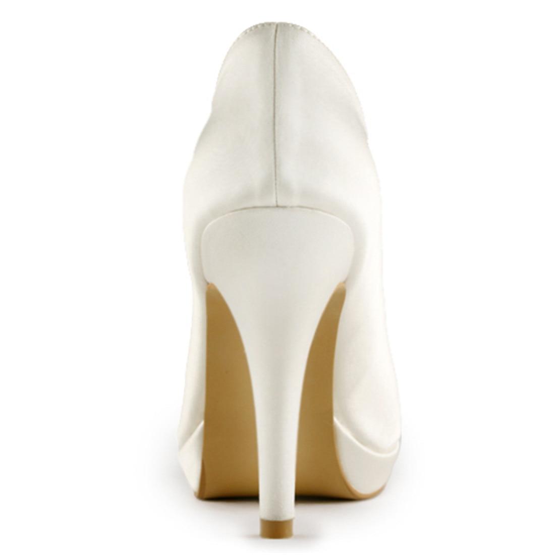 Elegantes Saltos Altos Finos Plataforma Bombas de Noiva de Cetim de Luxo Nupcial Da Dama de Honra Do Marfim Branco Champanhe Sapatos Uninnova 521 1 LY - 6