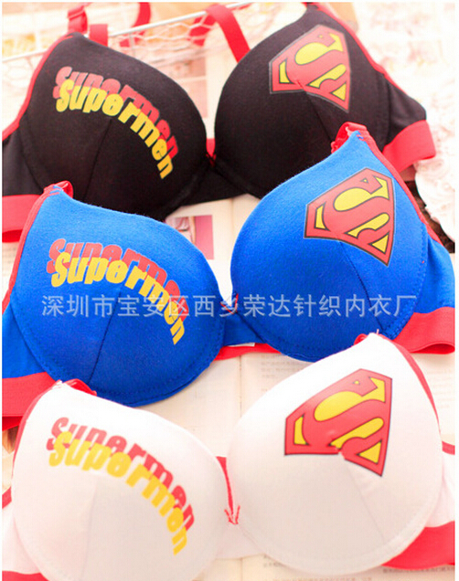 sous vetement femme superman underwear women bras cotton. Black Bedroom Furniture Sets. Home Design Ideas