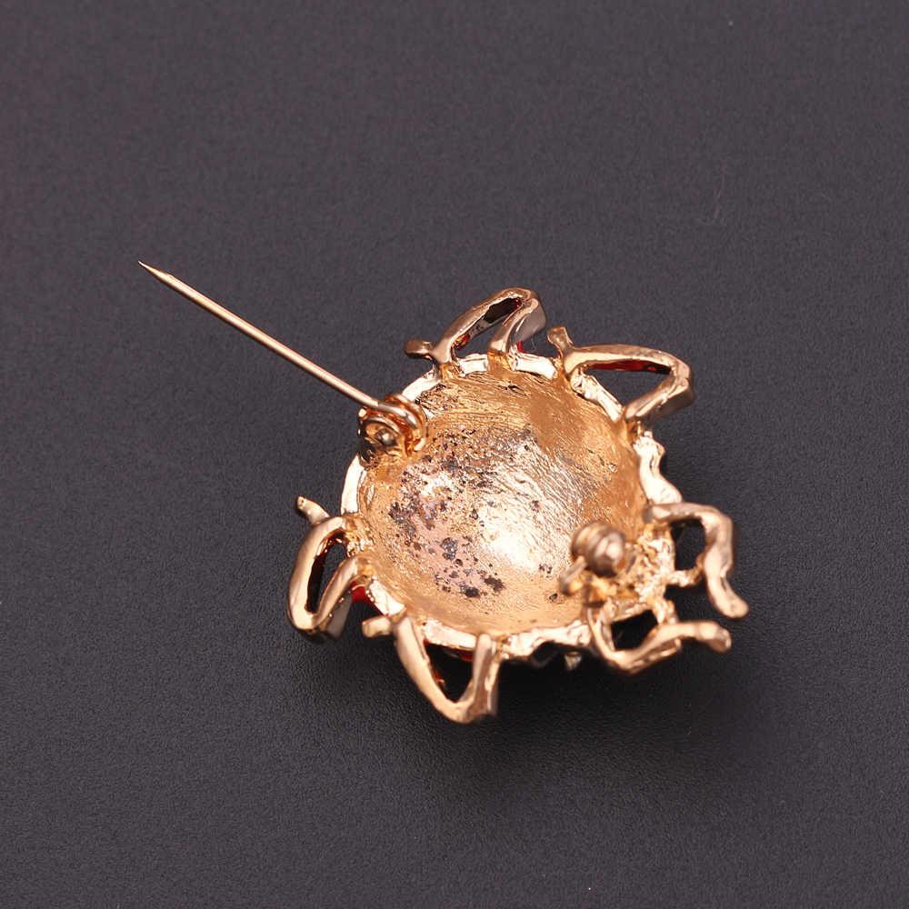Kryształ słodkie siedem miejscu biedronka broszka Pin dla kobiet zwierząt emalia broszki Pins odznaka kapelusz plecak akcesoria biżuteria prezent