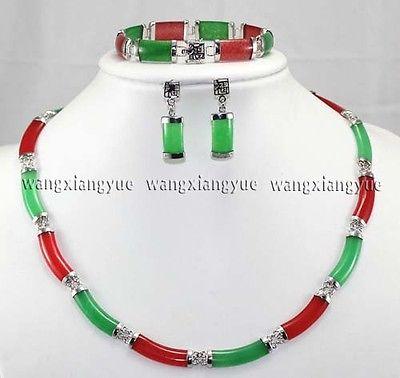 Charme Rouge & Vert Jade Lien Collier Bracelet boucles d'oreilles Set18K plaqué or montre en gros Quartz pierre CZ cristal