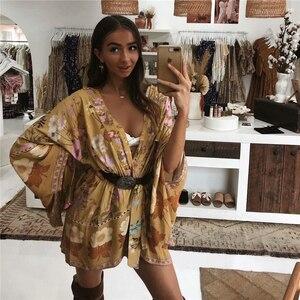 Image 3 - Robe dété Boho, Vintage, à ceinture imprimé floral, manches chauve souris, kimono bohémien, col en V, à glands, robe de plage