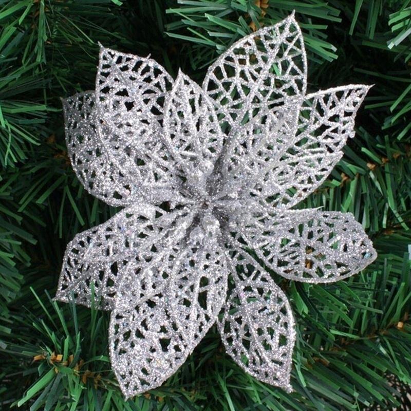 10 stk Glitter Hollow Flower Decoration Blomster til juletræer til - Varer til ferie og fester - Foto 6